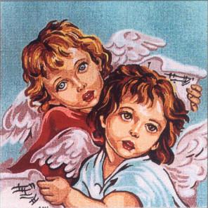 Пара Ангелов Канва жесткая с рисунком для вышивки Gobelin L