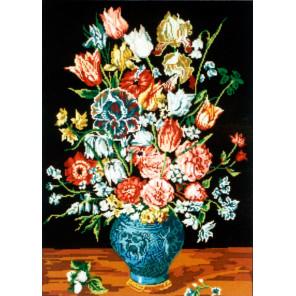 Букет в синей вазе Канва жесткая с рисунком для вышивки Gobelin L