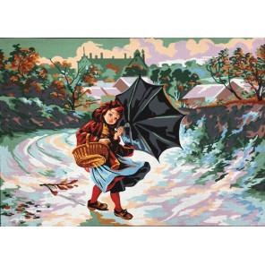 Зимою за подснежниками Канва жесткая с рисунком для вышивки Gobelin L