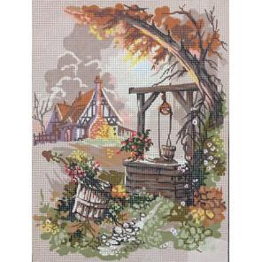 Деревенский колодец Канва жесткая с рисунком для вышивки Gobelin L