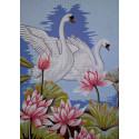 Лебеди в лотосах Канва жесткая с рисунком для вышивки Gobelin L