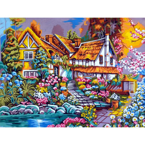 Домик в цветах Канва жесткая с рисунком для вышивки Gobelin L