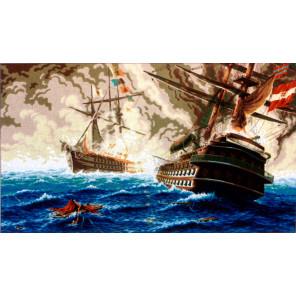 Морская баталия Канва жесткая с рисунком для вышивки Gobelin L