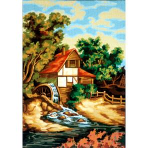 Вид на мельницу Канва жесткая с рисунком для вышивки Gobelin L