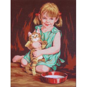 Девочка с котенком Канва жесткая с рисунком для вышивки Gobelin L