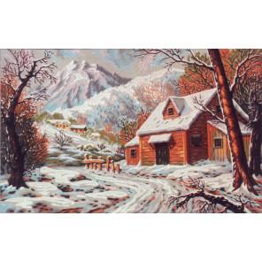 Зимний домик в горах Канва жесткая с рисунком для вышивки Gobelin L