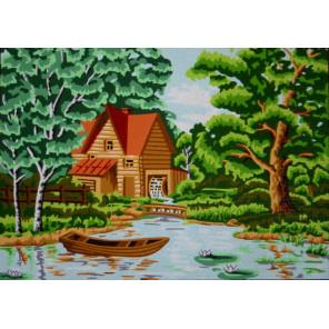 В лесу у мельницы Канва жесткая с рисунком для вышивки Gobelin L
