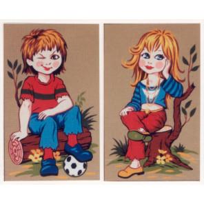 Девочка и мальчик с мячом Канва жесткая с рисунком для вышивки Gobelin L