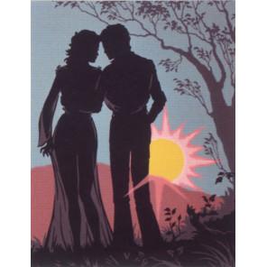 Пара, силуэт на утренней заре Канва жесткая с рисунком для вышивки Gobelin L