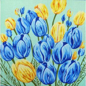 Голубые и желтые тюльпаны Канва жесткая с рисунком для вышивки Gobelin L
