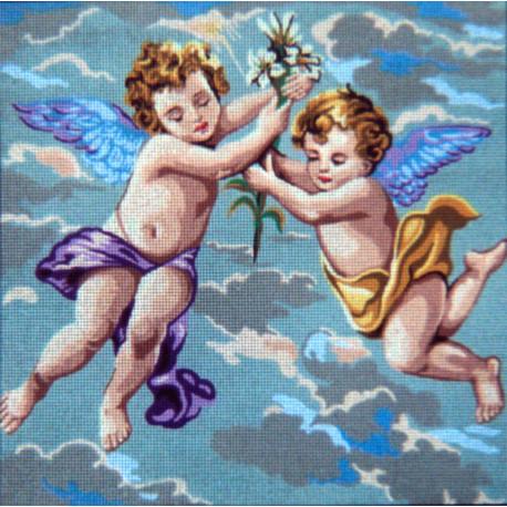 Ангелочки в голубом Канва жесткая с рисунком для вышивки Gobelin L