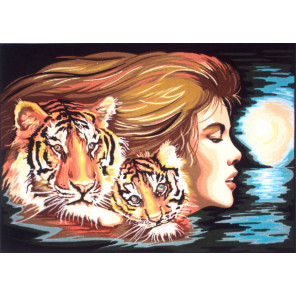 Женщина -Тигр Канва жесткая с рисунком для вышивки Gobelin L