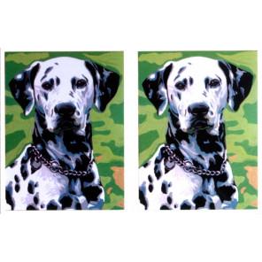 Далматины, 2 рисунка на листе Канва жесткая с рисунком для вышивки Gobelin L