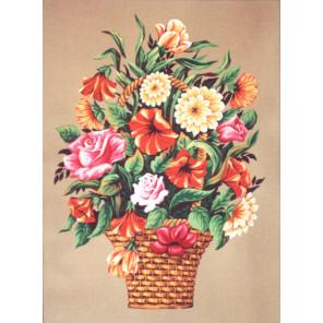 Букет в вазе с петуниями Канва жесткая с рисунком для вышивки Gobelin L