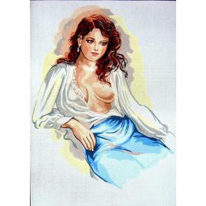 Задумчивая леди в шелковой блузе Канва жесткая с рисунком для вышивки Gobelin L