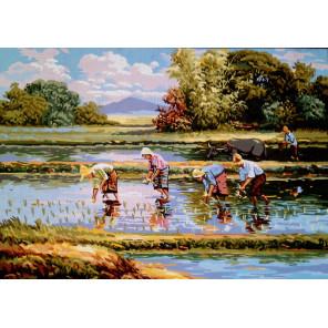 Сборщики риса Канва жесткая с рисунком для вышивки Gobelin L