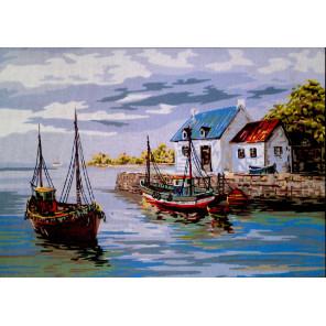 Пристань Канва жесткая с рисунком для вышивки Gobelin L