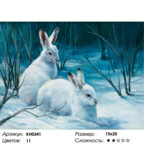 Сложность и количество цветов Зайцы в лесу Раскраска картина по номерам на холсте KH0341