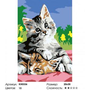 Сложность и количество цветов Котята Раскраска картина по номерам на холсте KH0336