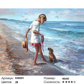 Сложность и количество цветов Ласковое море Раскраска картина по номерам на холсте KH0351