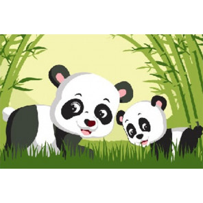Панда в бамбуковом лесу Раскраска картина по номерам на холсте PKD18022