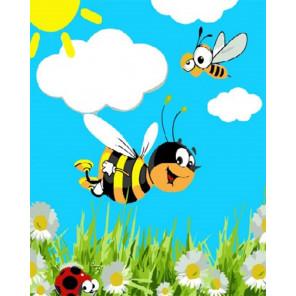 Веселые пчелки Раскраска картина по номерам на холсте PKD18007