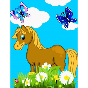 Лошадка в цветах Раскраска картина по номерам на холсте PKD18006