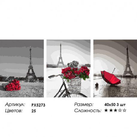 Сложность и количество цветов Романтика Парижа Триптих Раскраска картина по номерам на холсте PX5273