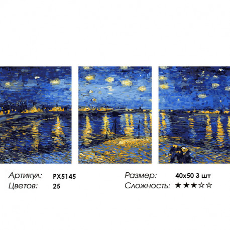 Сложность и количество цветов Звездная ночь Триптих Раскраска картина по номерам на холсте PX5145