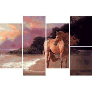 Прекрасная лошадь Модульная картина по номерам на холсте с подрамником WX1068
