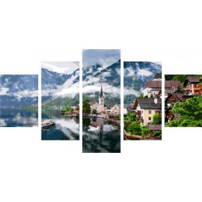 Городок в Альпах Модульная картина по номерам на холсте с подрамником WX1063