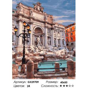 Сложность и количество цветов Вечер у фонтана Раскраска картина по номерам на холсте GX29709