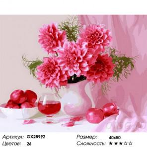 Сложность и количество цветов Натюрморт с георгинами Раскраска картина по номерам на холсте GX28992