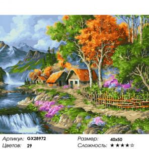 Сложность и количество цветов Домики у водопада Раскраска картина по номерам на холсте GX28972