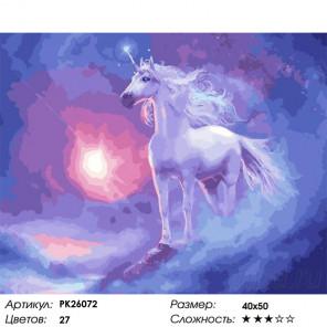 Сложность и количество цветов Облачный единорог Раскраска картина по номерам на холсте PK26072