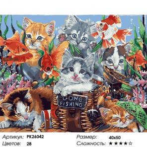 Сложность и количество цветов Котята и рыбки Раскраска картина по номерам на холсте PK26042