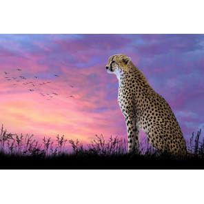 Леопард на закате Алмазная вышивка мозаика Алмазное Хобби AH5304