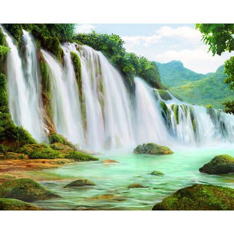 Горный водопад Алмазная вышивка мозаика Алмазное Хобби AH5339