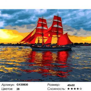 Сложность и количество цветов Алые паруса на реке Раскраска картина по номерам на холсте GX30830