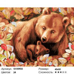 Сложность и количество цветов Медведица и медвежонок Раскраска картина по номерам на холсте GX30432