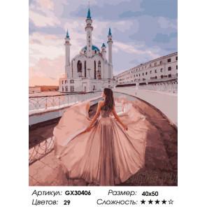 Сложность и количество цветов Девушка у мечети Раскраска картина по номерам на холсте GX30406