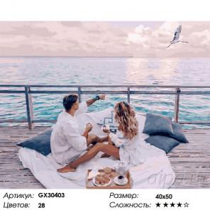 Сложность и количество цветов Ранний завтрак у моря Раскраска картина по номерам на холсте GX30403