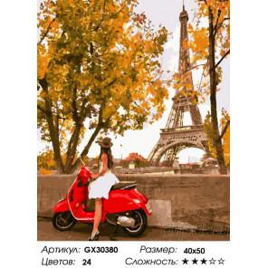 Сложность и количество цветов Парижанка на мотоцикле Раскраска картина по номерам на холсте GX30380