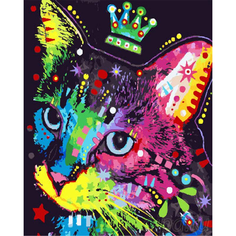 GX30352 Разноцветный кот с короной Раскраска картина по ...