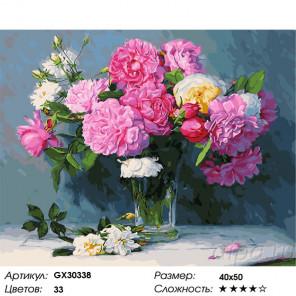 Сложность и количество цветов Букет из розовых пионов Раскраска картина по номерам на холсте GX30338