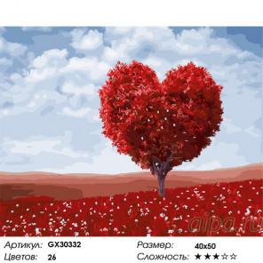 Сложность и количество цветов Красное дерево-сердце Раскраска картина по номерам на холсте GX30332