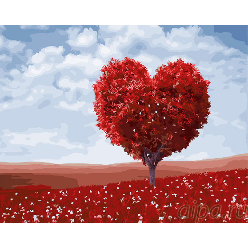 GX30332 Красное дерево-сердце Раскраска картина по номерам ...