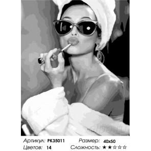 Сложность и количество цветов Девушка в очках Раскраска картина по номерам на холсте PK35011