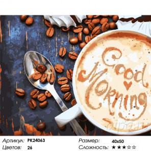 Сложность и количество цветов Чашка утреннего кофе Раскраска картина по номерам на холсте PK24063