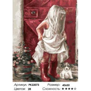Сложность и количество цветов Девочка в сапожках Раскраска картина по номерам на холсте PK22073